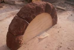 Red sandstone garden arch Helsby Cheshire 1