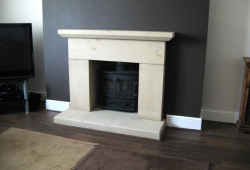 Simple stone fireplace Wrexham