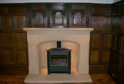 Stone fire surround with inglenook in Rossett Wrexham